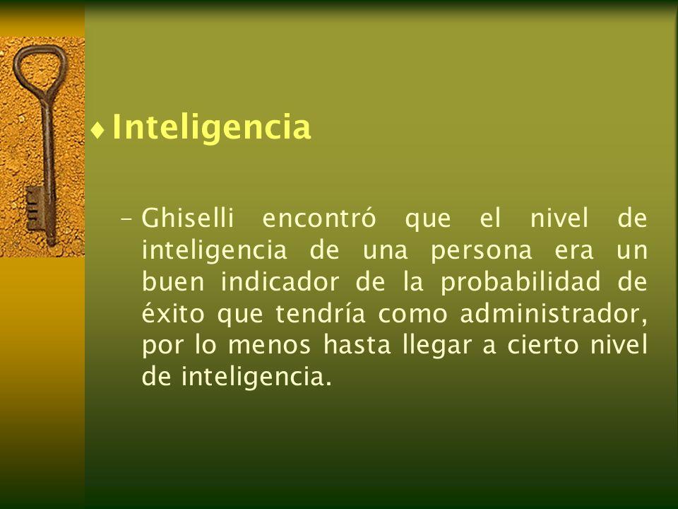 Inteligencia –Ghiselli encontró que el nivel de inteligencia de una persona era un buen indicador de la probabilidad de éxito que tendría como adminis