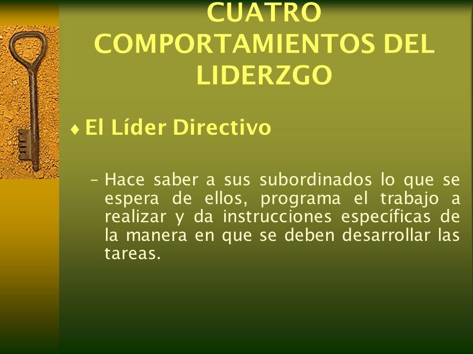 CUATRO COMPORTAMIENTOS DEL LIDERZGO El Líder Directivo –Hace saber a sus subordinados lo que se espera de ellos, programa el trabajo a realizar y da i