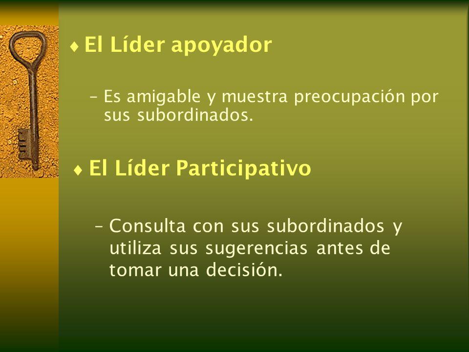 El Líder apoyador –Es amigable y muestra preocupación por sus subordinados. El Líder Participativo –Consulta con sus subordinados y utiliza sus sugere