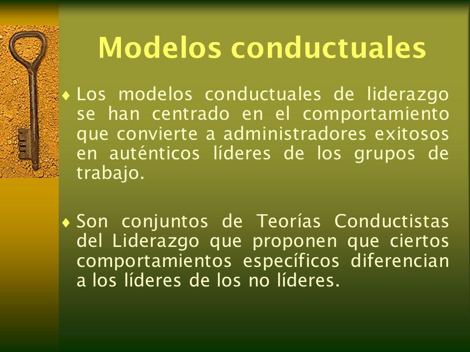 Modelos conductuales Los modelos conductuales de liderazgo se han centrado en el comportamiento que convierte a administradores exitosos en auténticos