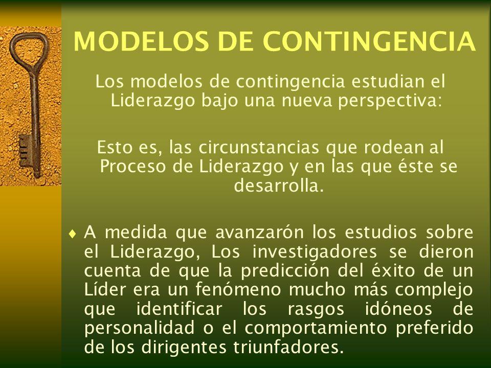 MODELOS DE CONTINGENCIA Los modelos de contingencia estudian el Liderazgo bajo una nueva perspectiva: Esto es, las circunstancias que rodean al Proces