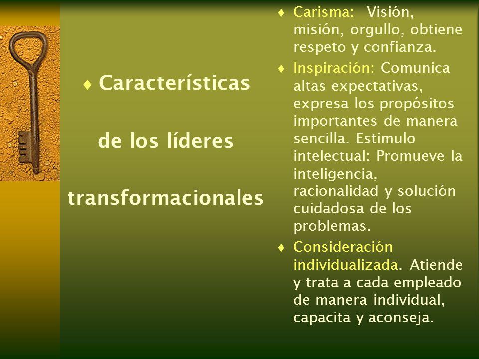 Características de los líderes transformacionales Carisma:Visión, misión, orgullo, obtiene respeto y confianza. Inspiración: Comunica altas expectativ