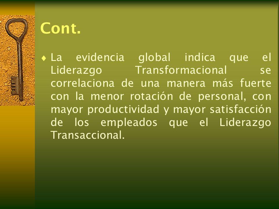 Cont. La evidencia global indica que el Liderazgo Transformacional se correlaciona de una manera más fuerte con la menor rotación de personal, con may
