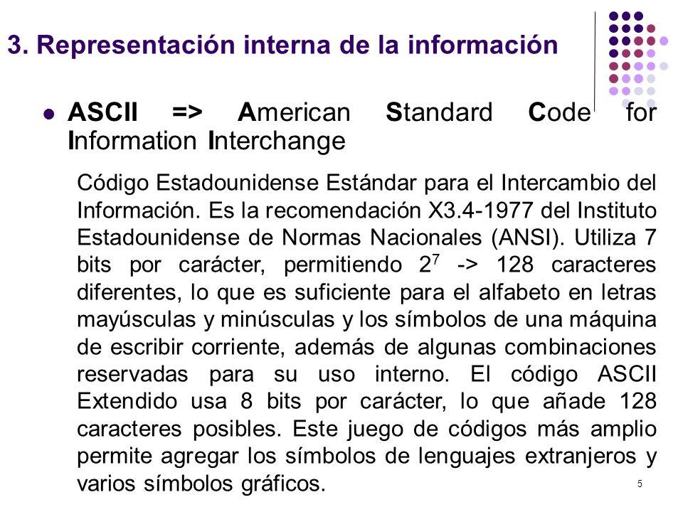5 ASCII => American Standard Code for Information Interchange 3. Representación interna de la información Código Estadounidense Estándar para el Inter