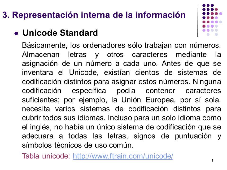 8 Unicode Standard 3. Representación interna de la información Básicamente, los ordenadores sólo trabajan con números. Almacenan letras y otros caract
