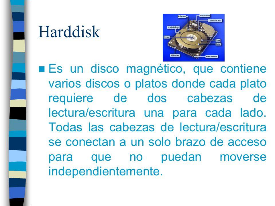 Harddisk Es un disco magnético, que contiene varios discos o platos donde cada plato requiere de dos cabezas de lectura/escritura una para cada lado.