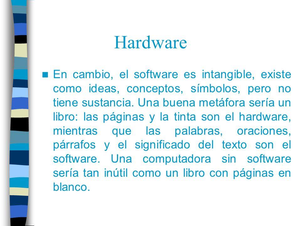 Hardware En cambio, el software es intangible, existe como ideas, conceptos, símbolos, pero no tiene sustancia. Una buena metáfora sería un libro: las