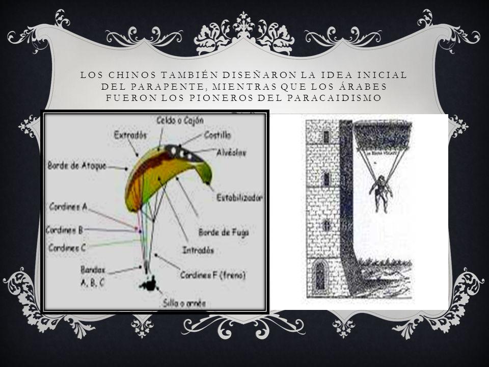 LOS CHINOS TAMBIÉN DISEÑARON LA IDEA INICIAL DEL PARAPENTE, MIENTRAS QUE LOS ÁRABES FUERON LOS PIONEROS DEL PARACAIDISMO