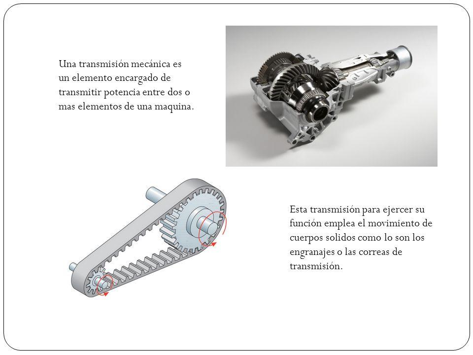 Una transmisión mecánica es un elemento encargado de transmitir potencia entre dos o mas elementos de una maquina. Esta transmisión para ejercer su fu