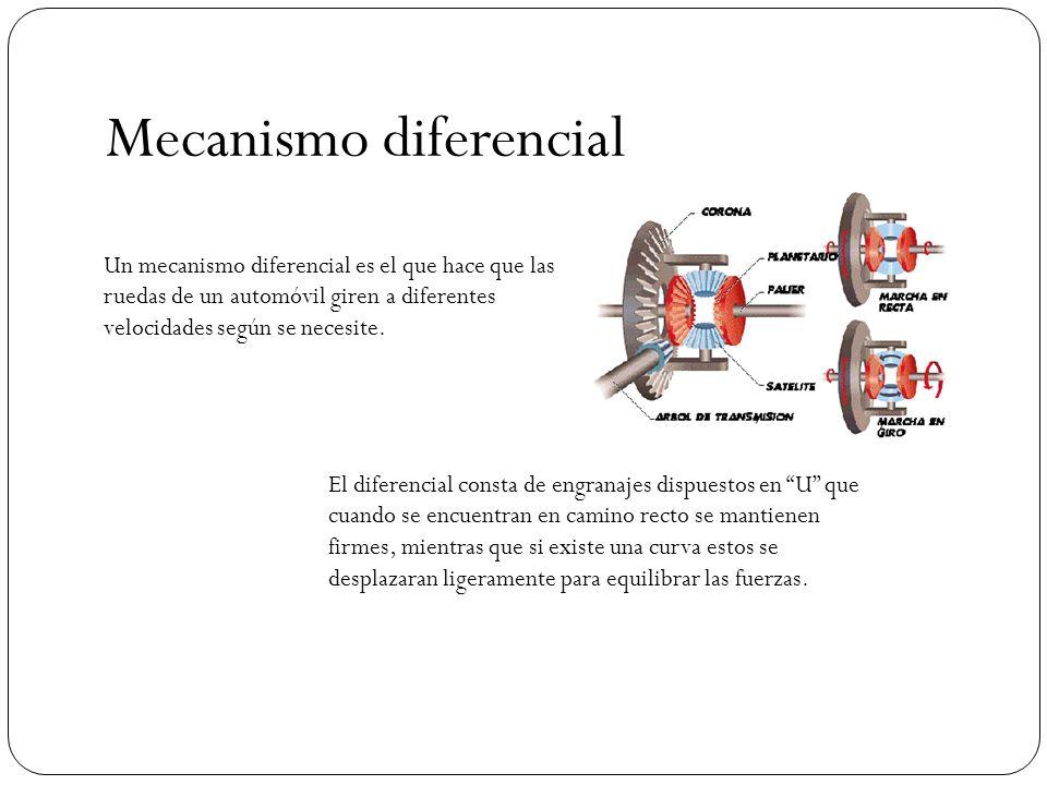 Mecanismo diferencial Un mecanismo diferencial es el que hace que las ruedas de un automóvil giren a diferentes velocidades según se necesite. El dife