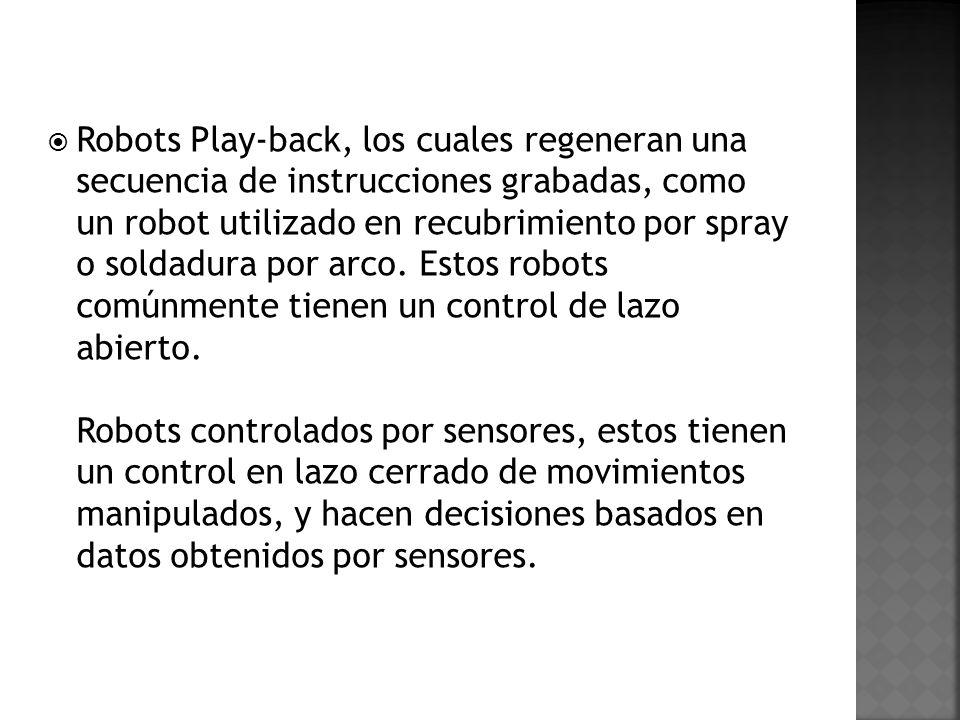 Robots Play-back, los cuales regeneran una secuencia de instrucciones grabadas, como un robot utilizado en recubrimiento por spray o soldadura por arc