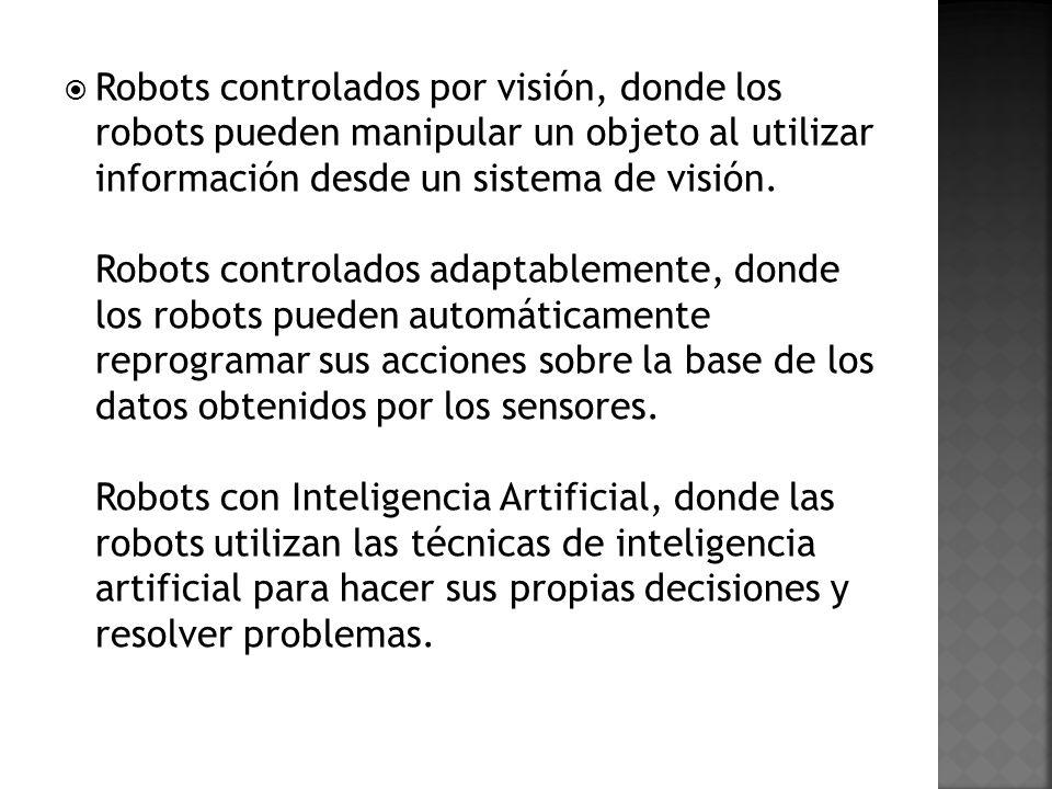 Robots controlados por visión, donde los robots pueden manipular un objeto al utilizar información desde un sistema de visión. Robots controlados adap