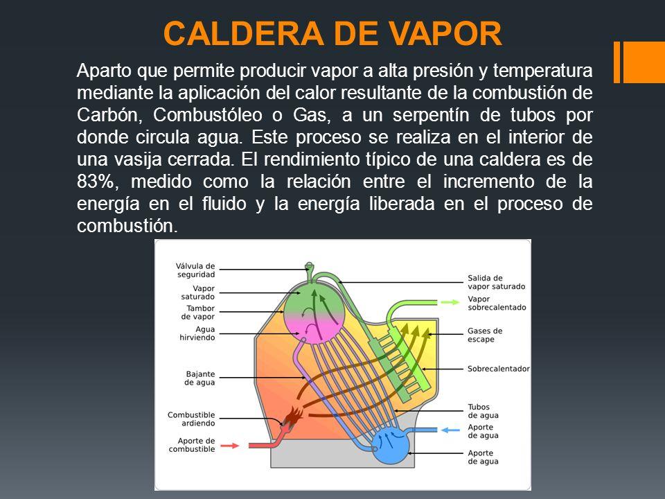 CALDERA DE VAPOR Aparto que permite producir vapor a alta presión y temperatura mediante la aplicación del calor resultante de la combustión de Carbón, Combustóleo o Gas, a un serpentín de tubos por donde circula agua.
