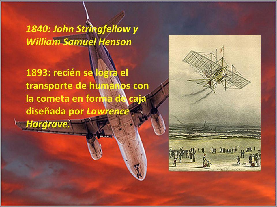 1840: John Stringfellow y William Samuel Henson 1893: recién se logra el transporte de humanos con la cometa en forma de caja diseñada por Lawrence Ha