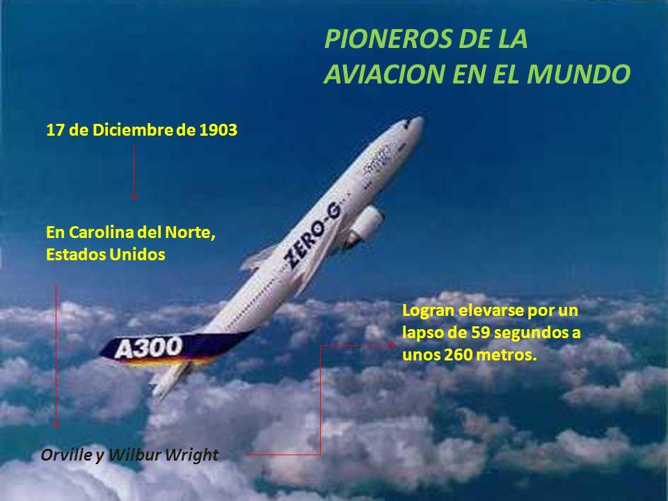 PIONEROS DE LA AVIACION EN EL MUNDO 17 de Diciembre de 1903 En Carolina del Norte, Estados Unidos Orville y Wilbur Wright Logran elevarse por un lapso
