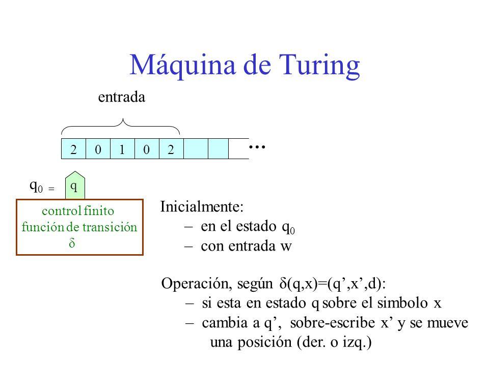 Máquina de Turing Inicialmente: – en el estado q 0 – con entrada w Operación, según δ(q,x)=(q,x,d): – si esta en estado q sobre el simbolo x – cambia