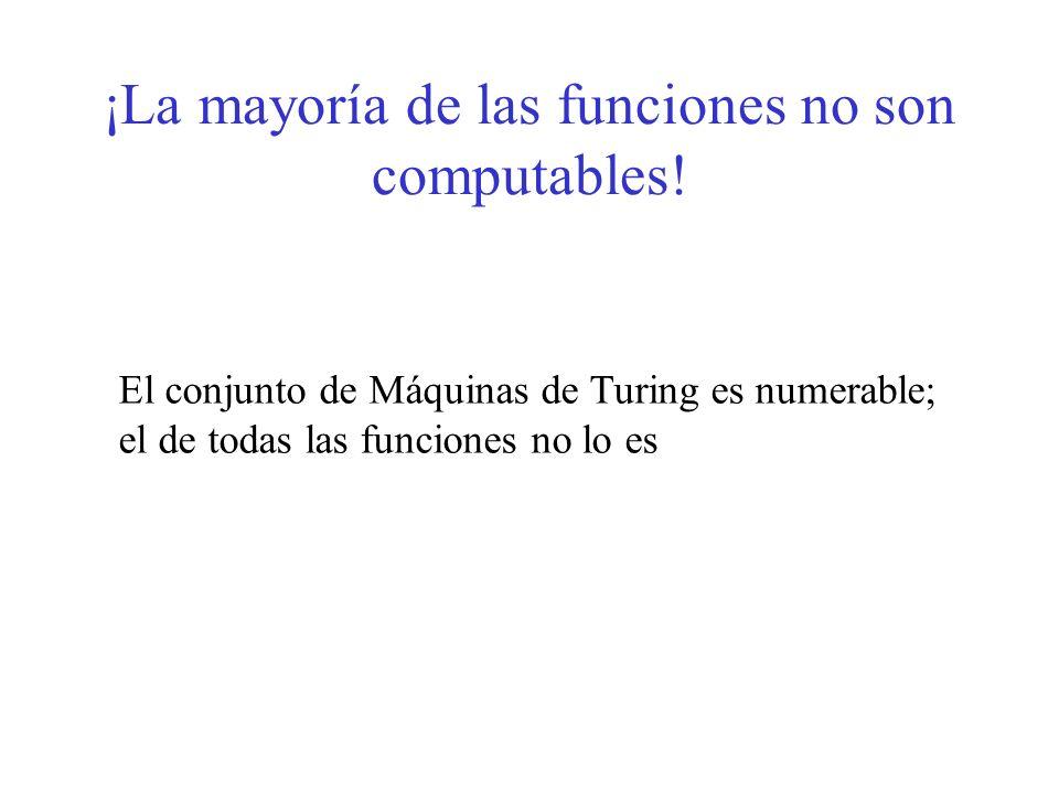¡La mayoría de las funciones no son computables! El conjunto de Máquinas de Turing es numerable; el de todas las funciones no lo es