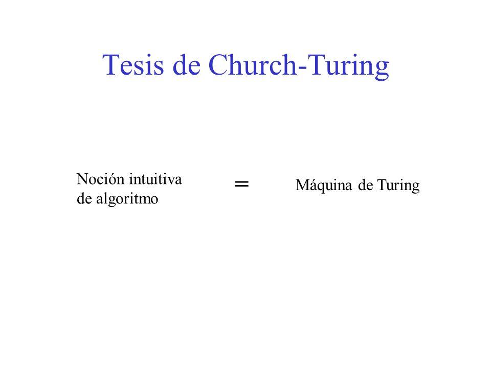 Tesis de Church-Turing Noción intuitiva de algoritmo = Máquina de Turing