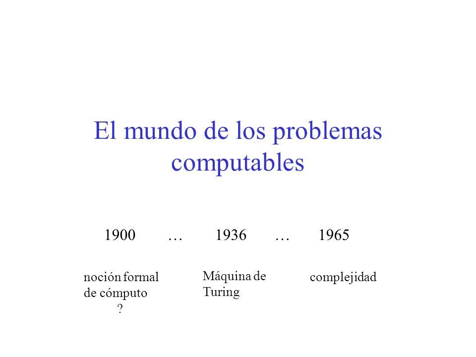 El mundo de los problemas computables 1900 … 1936 … 1965 noción formal de cómputo ? Máquina de Turing complejidad