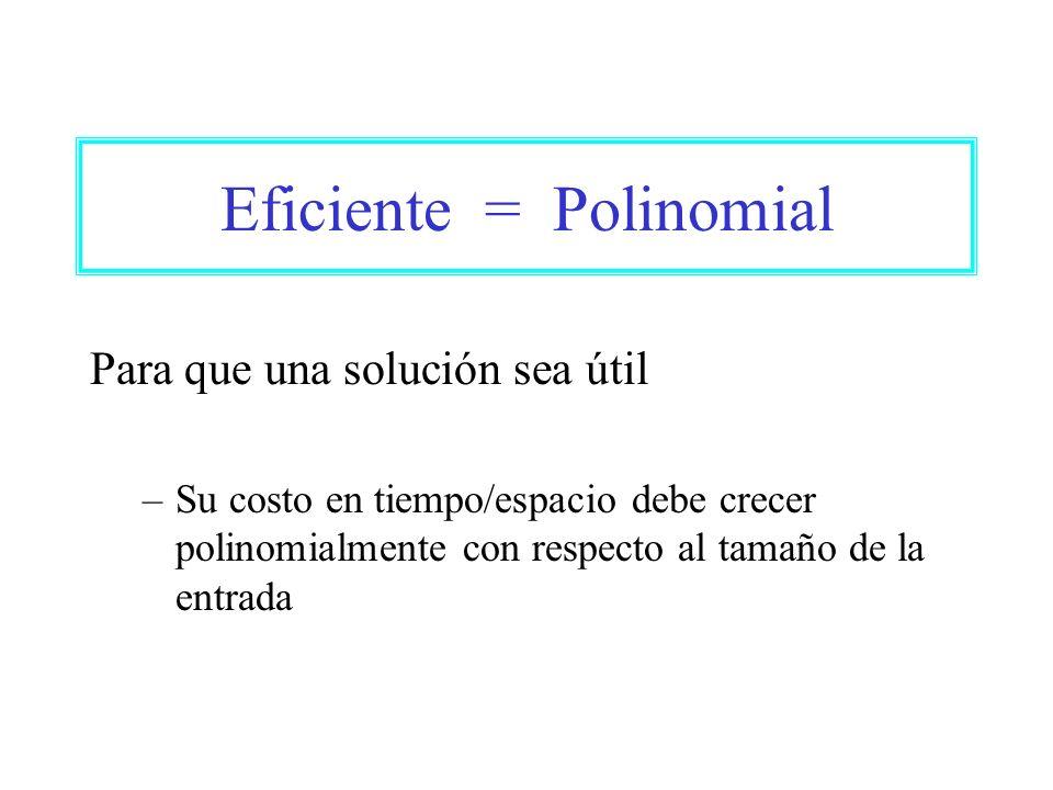 Eficiente = Polinomial Para que una solución sea útil –Su costo en tiempo/espacio debe crecer polinomialmente con respecto al tamaño de la entrada