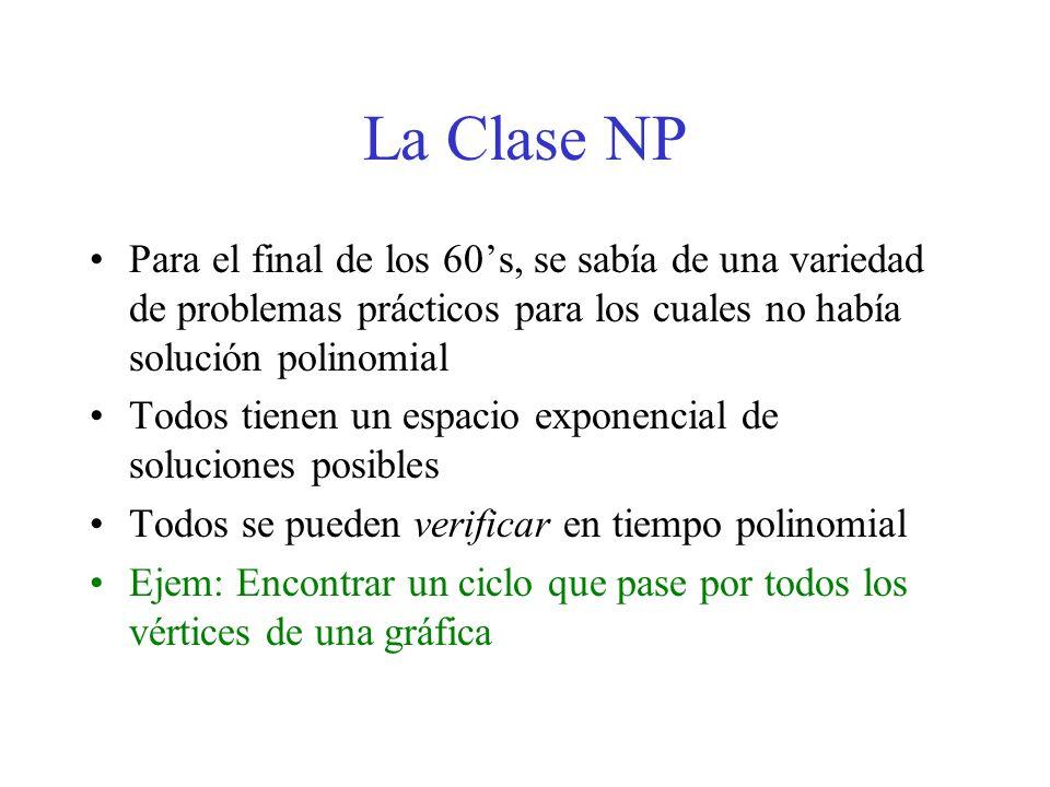 La Clase NP Para el final de los 60s, se sabía de una variedad de problemas prácticos para los cuales no había solución polinomial Todos tienen un esp