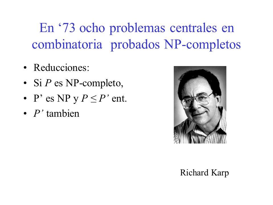 En 73 ocho problemas centrales en combinatoria probados NP-completos Reducciones: Si P es NP-completo, P es NP y P P ent. P tambien Richard Karp