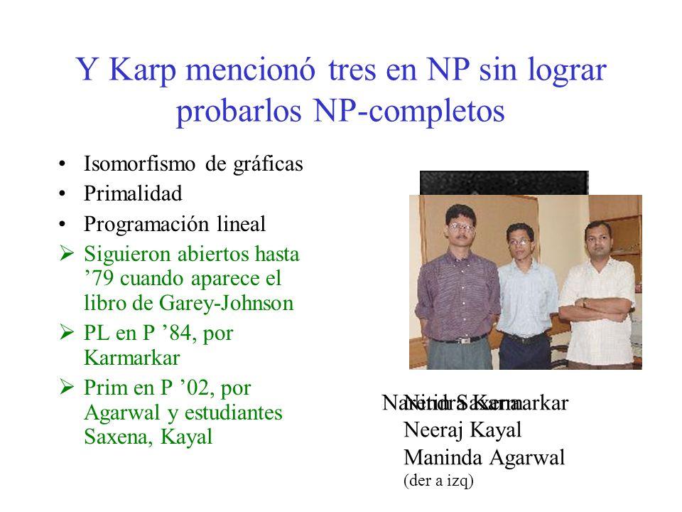 Y Karp mencionó tres en NP sin lograr probarlos NP-completos Isomorfismo de gráficas Primalidad Programación lineal Siguieron abiertos hasta 79 cuando