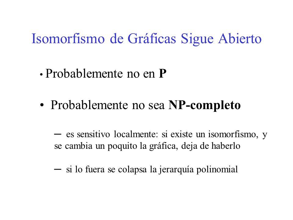 Isomorfismo de Gráficas Sigue Abierto Probablemente no en P Probablemente no sea NP-completo es sensitivo localmente: si existe un isomorfismo, y se c