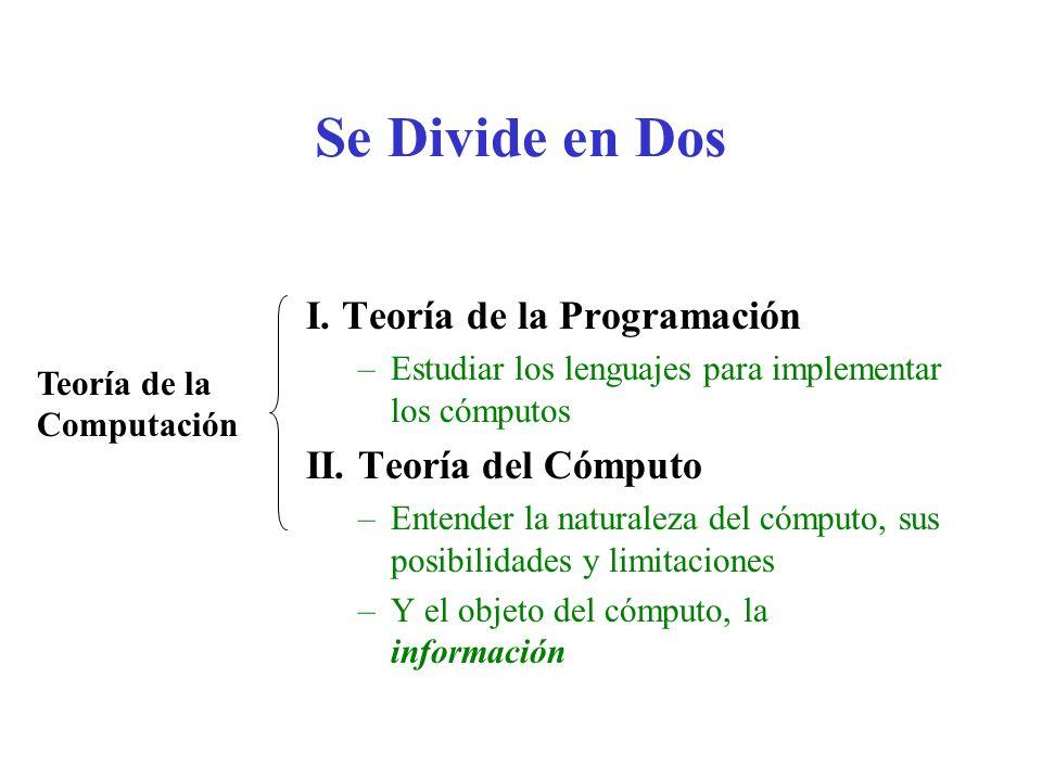 Se Divide en Dos I. Teoría de la Programación –Estudiar los lenguajes para implementar los cómputos II. Teoría del Cómputo –Entender la naturaleza del