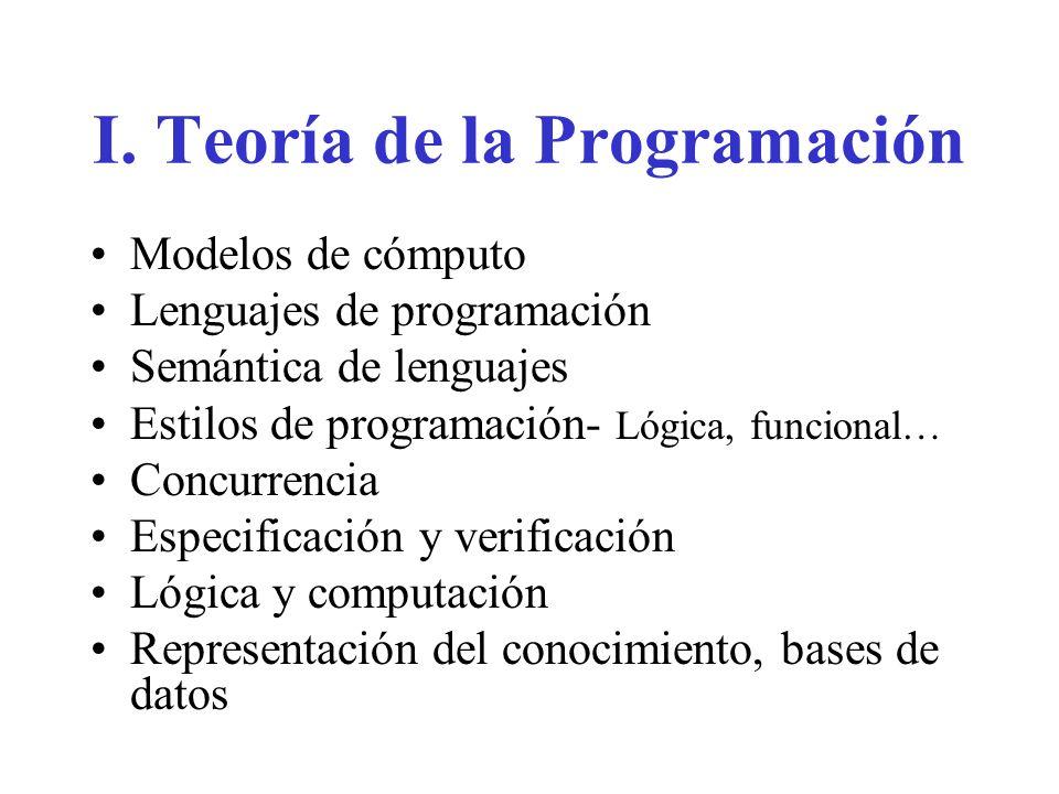 I. Teoría de la Programación Modelos de cómputo Lenguajes de programación Semántica de lenguajes Estilos de programación- Lógica, funcional… Concurren