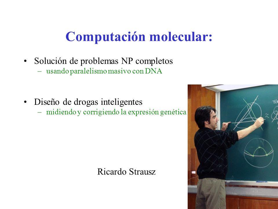 Computación molecular: Solución de problemas NP completos –usando paralelismo masivo con DNA Diseño de drogas inteligentes –midiendo y corrigiendo la
