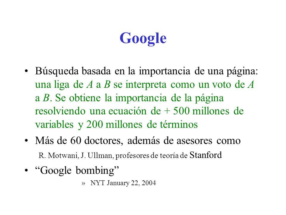 Google Búsqueda basada en la importancia de una página: una liga de A a B se interpreta como un voto de A a B. Se obtiene la importancia de la página