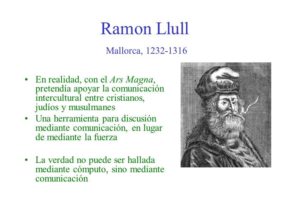Ramon Llull Mallorca, 1232-1316 En realidad, con el Ars Magna, pretendía apoyar la comunicación intercultural entre cristianos, judíos y musulmanes Un