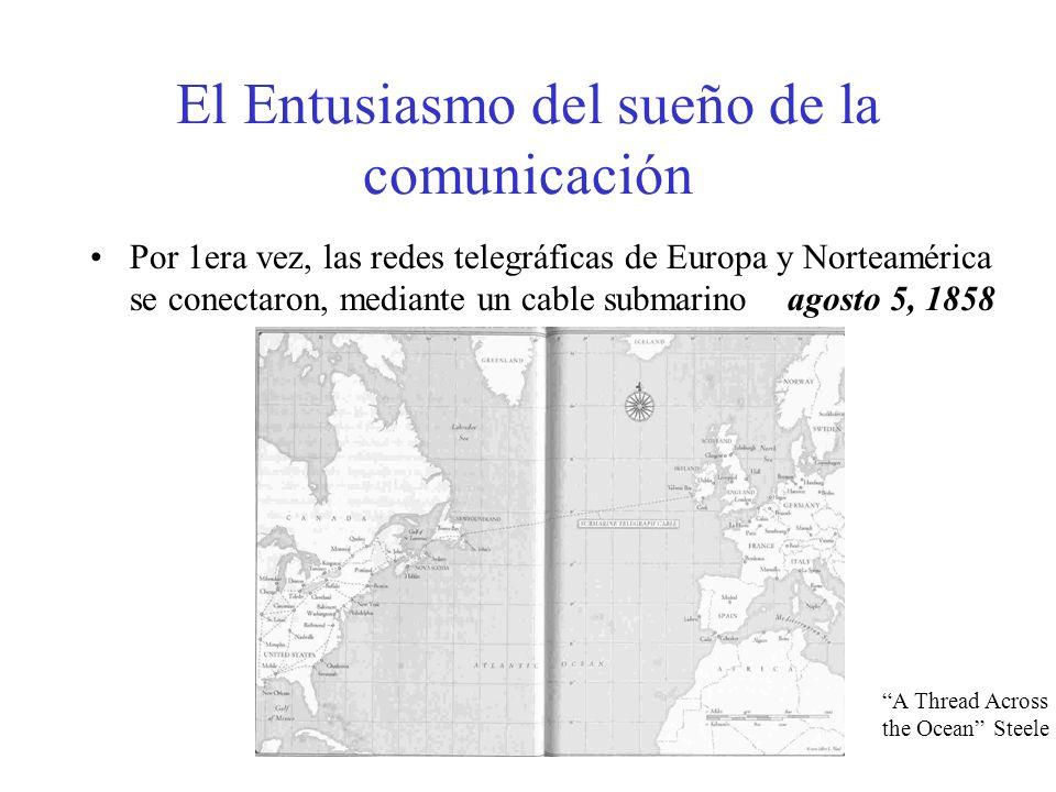 El Entusiasmo del sueño de la comunicación Por 1era vez, las redes telegráficas de Europa y Norteamérica se conectaron, mediante un cable submarino ag
