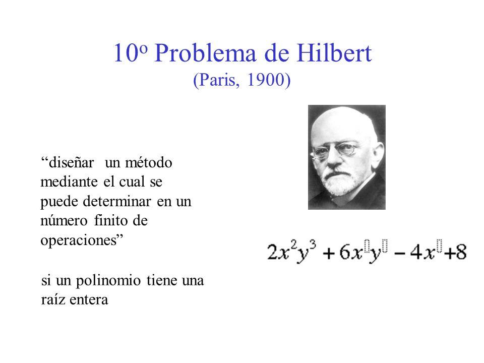 10 o Problema de Hilbert (Paris, 1900) un método mediante el cual se puede determinar en un número finito de operaciones diseñar si un polinomio tiene