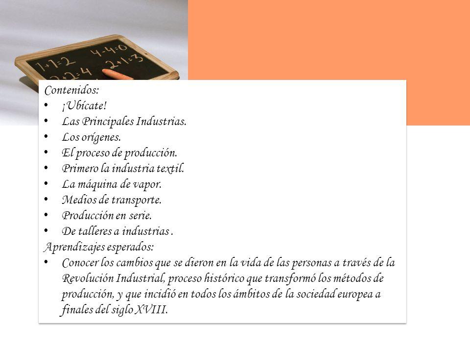 Contenidos: ¡Ubícate.Las Principales Industrias. Los orígenes.