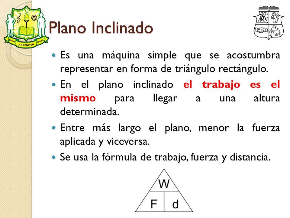 Plano Inclinado Es una máquina simple que se acostumbra representar en forma de triángulo rectángulo. En el plano inclinado el trabajo es el mismo par