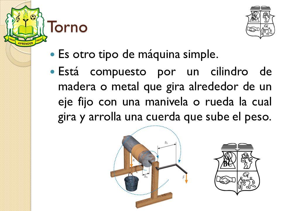 Torno Es otro tipo de máquina simple. Está compuesto por un cilindro de madera o metal que gira alrededor de un eje fijo con una manivela o rueda la c