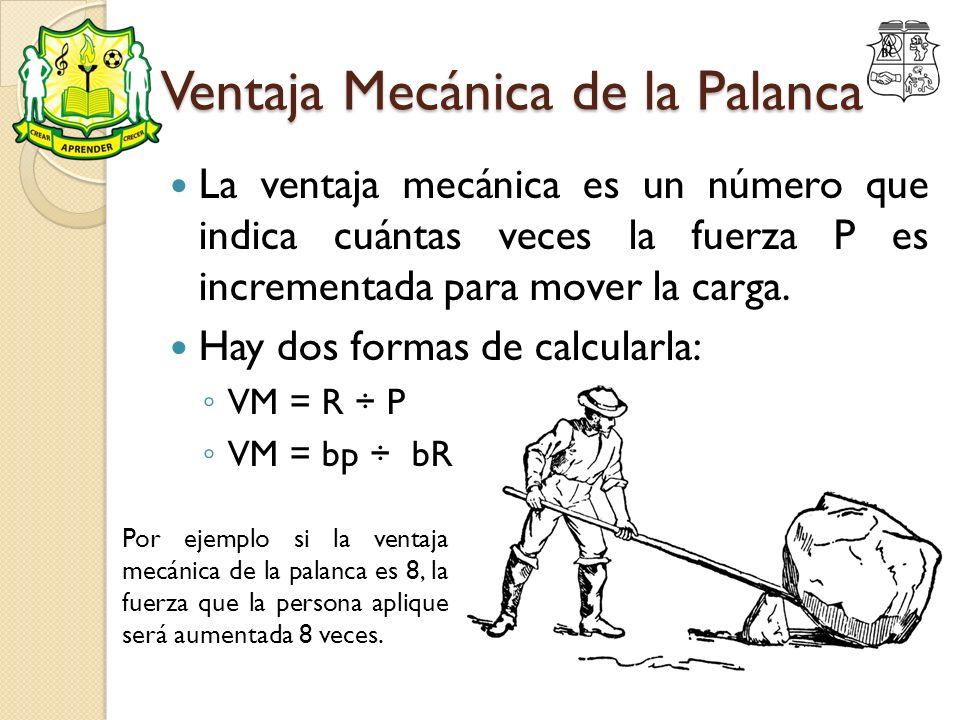 Ventaja Mecánica de la Palanca La ventaja mecánica es un número que indica cuántas veces la fuerza P es incrementada para mover la carga. Hay dos form