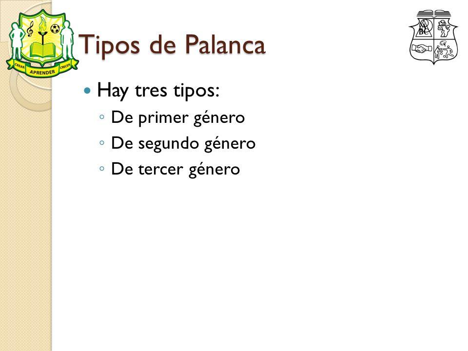 Tipos de Palanca Hay tres tipos: De primer género De segundo género De tercer género