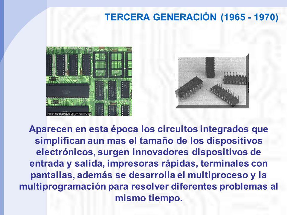 TERCERA GENERACIÓN (1965 - 1970) Aparecen en esta época los circuitos integrados que simplifican aun mas el tamaño de los dispositivos electrónicos, surgen innovadores dispositivos de entrada y salida, impresoras rápidas, terminales con pantallas, además se desarrolla el multiproceso y la multiprogramación para resolver diferentes problemas al mismo tiempo.