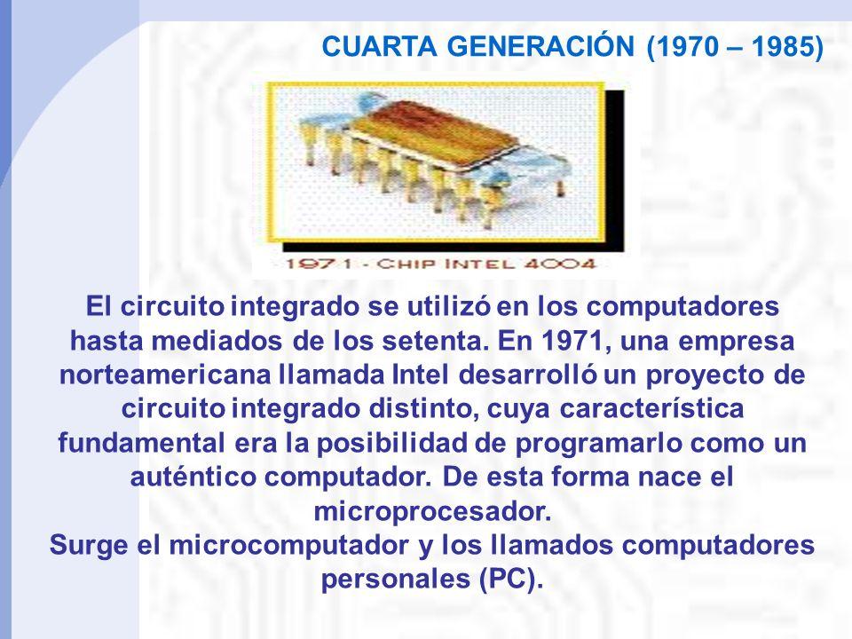 El circuito integrado se utilizó en los computadores hasta mediados de los setenta.