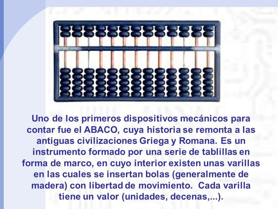 Uno de los primeros dispositivos mecánicos para contar fue el ABACO, cuya historia se remonta a las antiguas civilizaciones Griega y Romana.