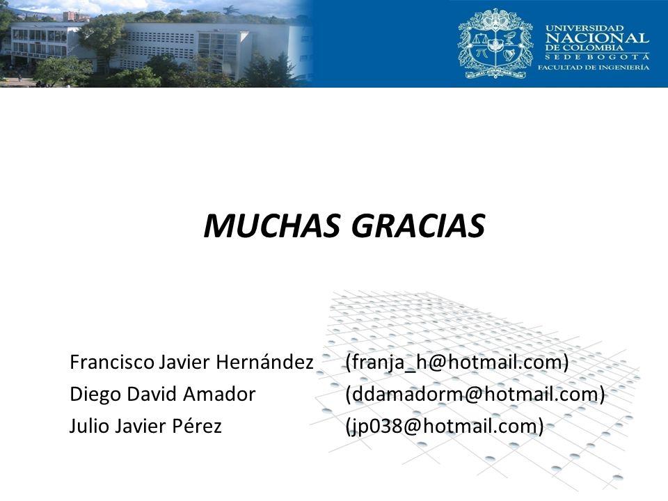 MUCHAS GRACIAS Francisco Javier Hernández (franja_h@hotmail.com) Diego David Amador (ddamadorm@hotmail.com) Julio Javier Pérez (jp038@hotmail.com)