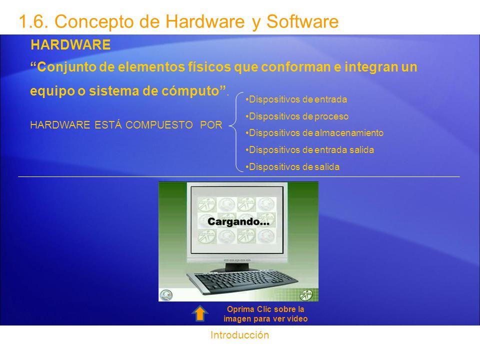 Introducción 1.6. Concepto de Hardware y Software HARDWARE Conjunto de elementos físicos que conforman e integran un equipo o sistema de cómputo. HARD