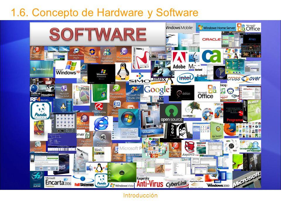 Introducción 1.6. Concepto de Hardware y Software