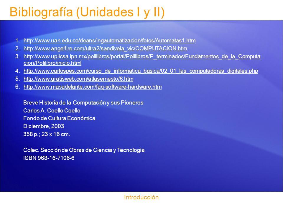 Bibliografía (Unidades I y II) Introducción 1.http://www.uan.edu.co/deans/ingautomatizacion/fotos/Automatas1.htmhttp://www.uan.edu.co/deans/ingautomat