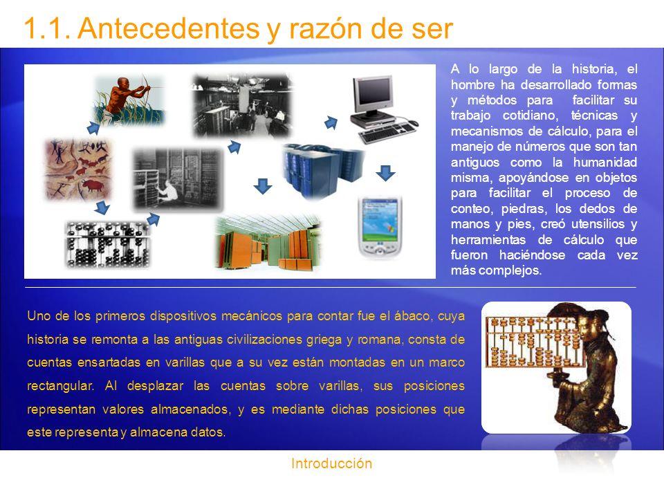 1.1. Antecedentes y razón de ser A lo largo de la historia, el hombre ha desarrollado formas y métodos para facilitar su trabajo cotidiano, técnicas y