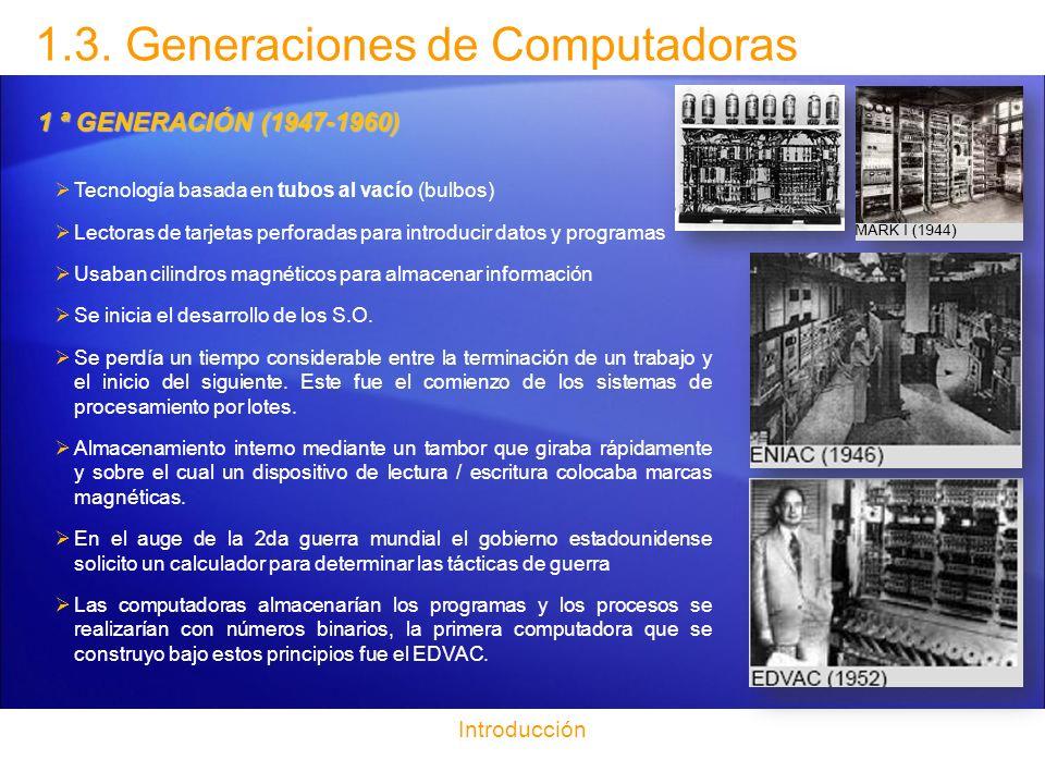 1.3. Generaciones de Computadoras Introducción 1 ª GENERACIÓN (1947-1960) Tecnología basada en tubos al vacío (bulbos) Lectoras de tarjetas perforadas