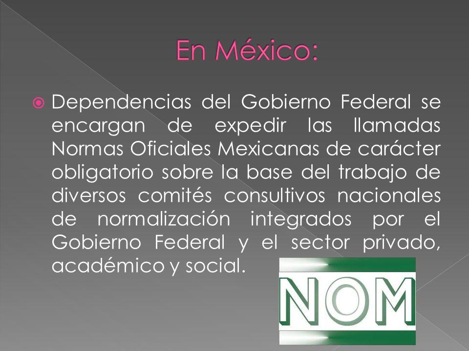 Dependencias del Gobierno Federal se encargan de expedir las llamadas Normas Oficiales Mexicanas de carácter obligatorio sobre la base del trabajo de